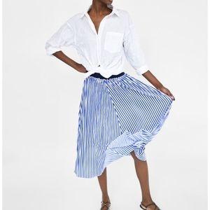 Zara Striped Midi Skirt